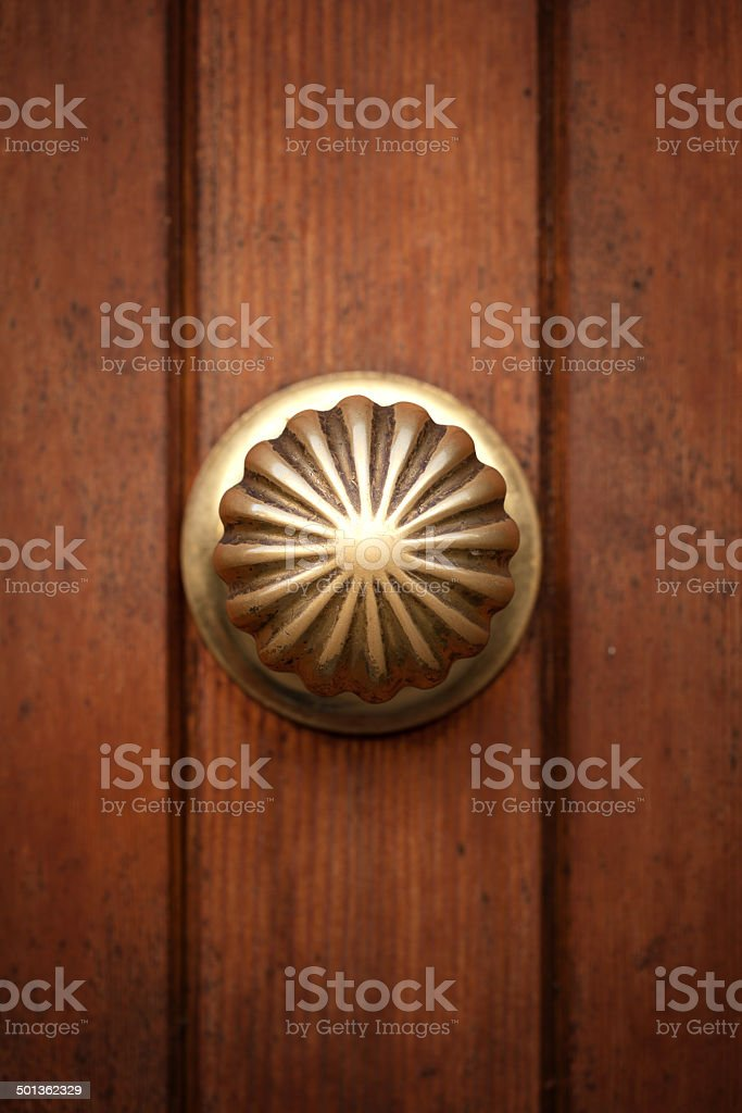 Natural wood texture with metal door handle royalty-free stock photo