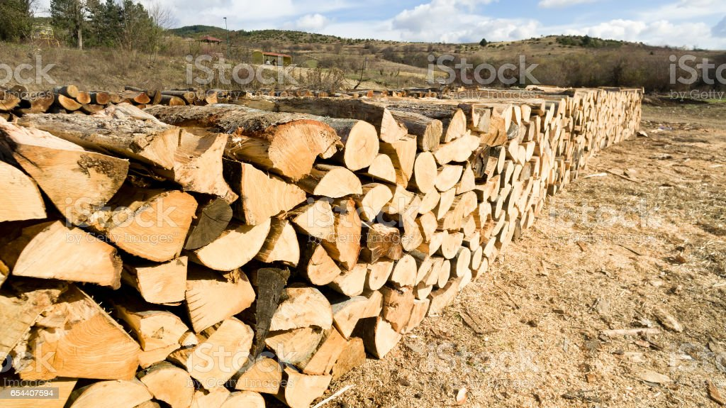 Natural wooden background - Firewood stacked and prepared for winter Pile of wood logs stock photo