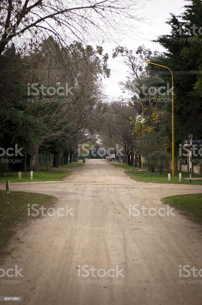 natural wooden crossroads stock photo