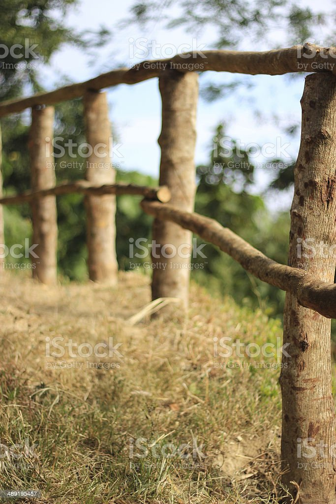 Natural wooden fence stock photo