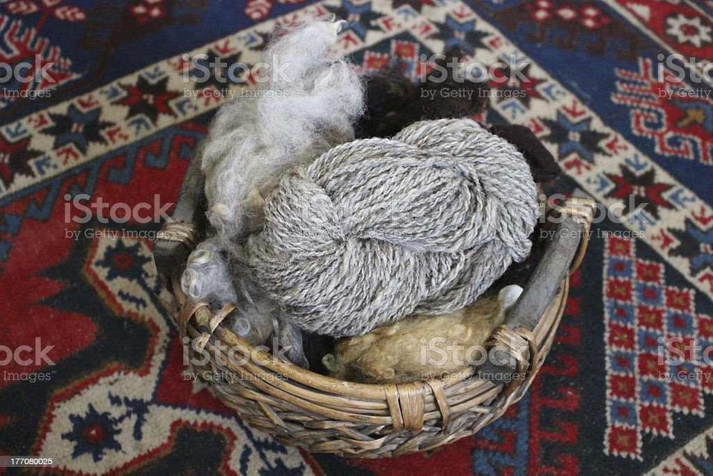 Natural wool and homespun skein in a basket royalty-free stock photo
