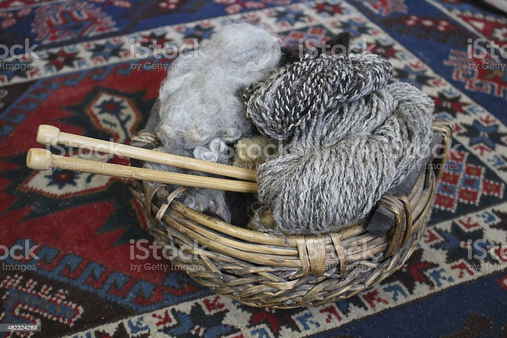 Natural wool and two homespun skeins with wooden knitting needles royalty-free stock photo