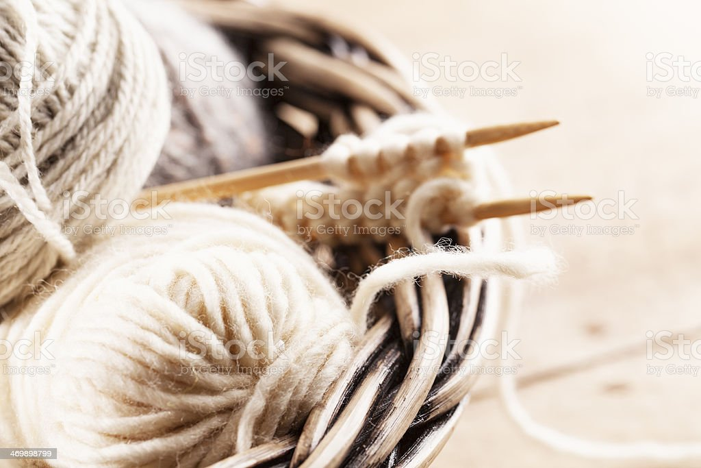 natural wool for knitting craft stock photo