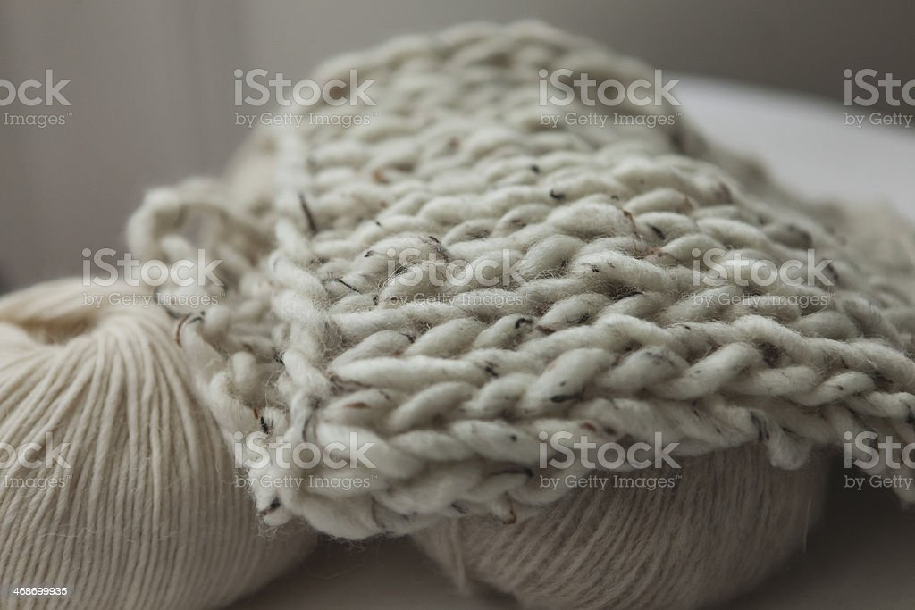Natural wool, yarn knitted stock photo