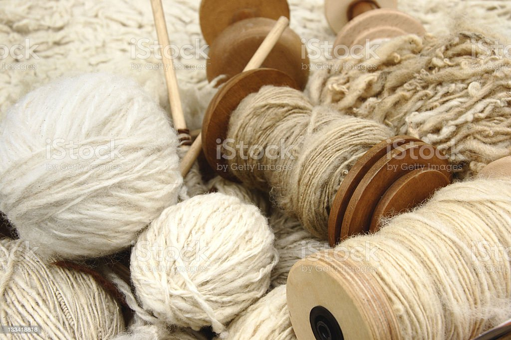Natural wool yarns stock photo