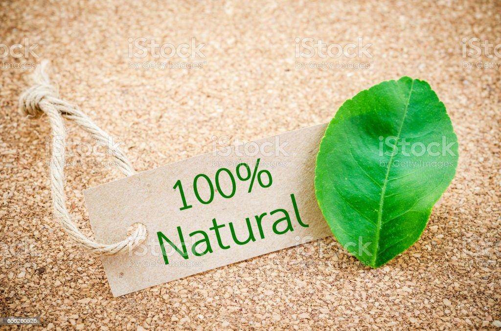 100% Natural word stock photo