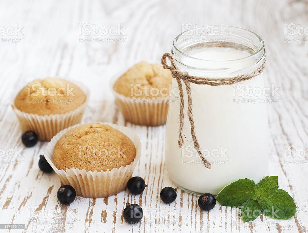 Natural yoghurt with fresh blackcurrants royalty-free stock photo