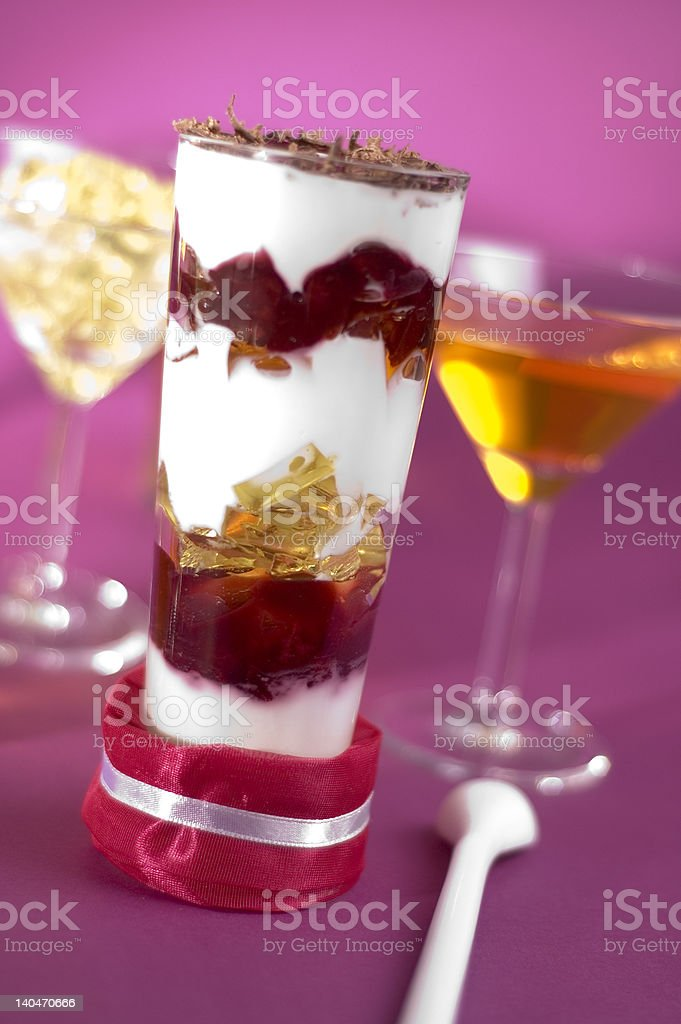 Natural yogurt with cream and jelly royalty-free stock photo