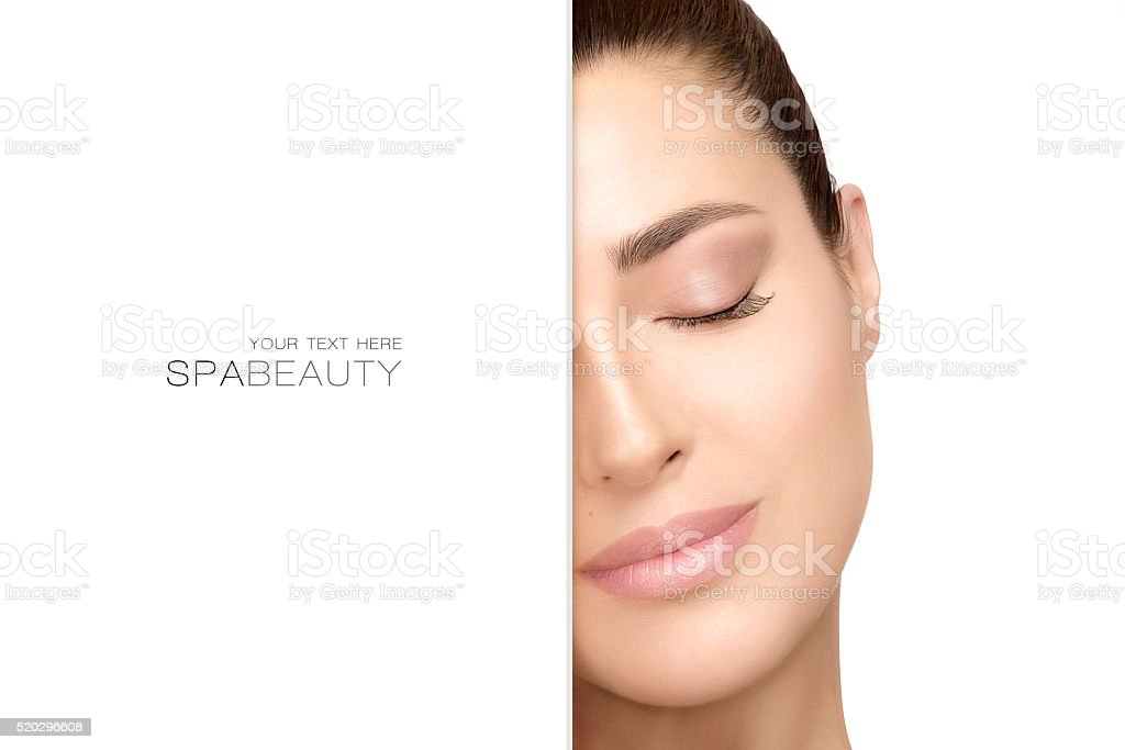 Natural young woman with serene expression. Spa Beauty Concept stock photo