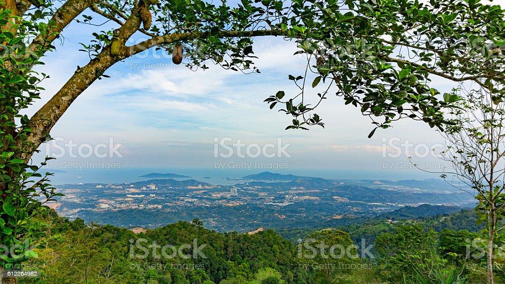 Natural-framed Kota Kinabalu City and Sepanggar Bay stock photo