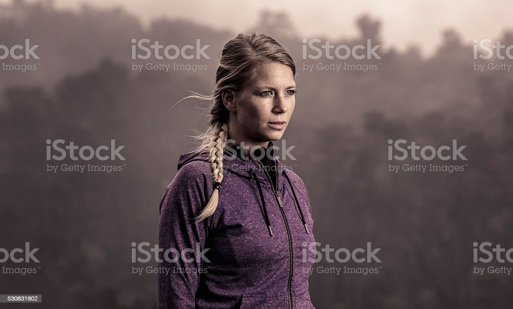 Naturally Beautiful and Fit Woman Outdoors stock photo