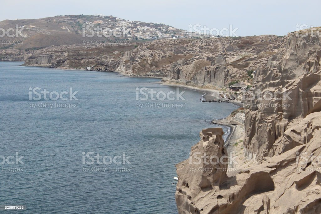 Naturally Carved Sandstone Mountain Cliff Beach stock photo