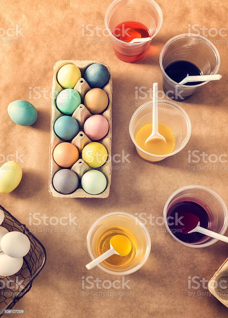 Naturally Dyed Easter Eggs stock photo