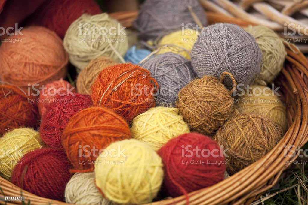 Naturally dyed wool stock photo