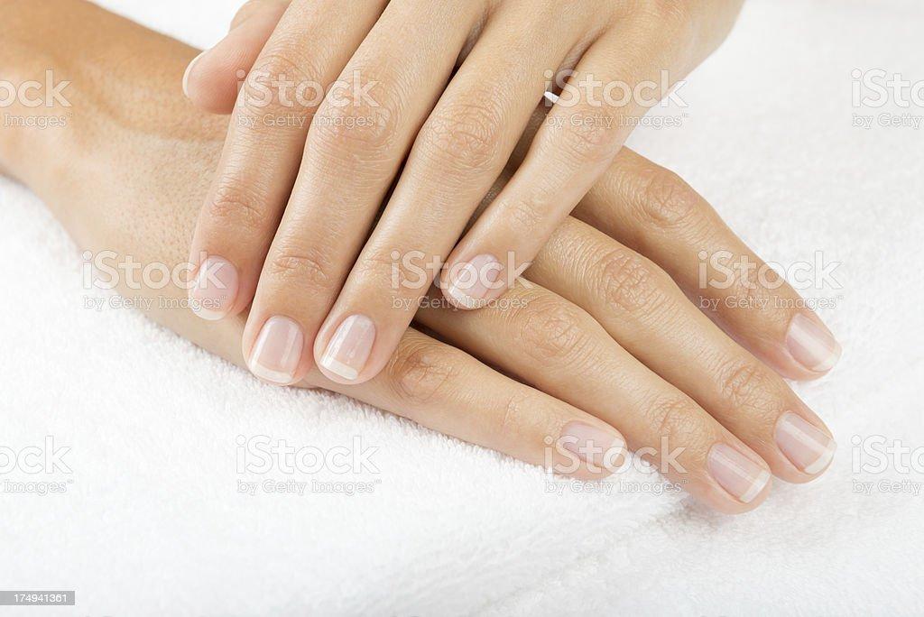 Naturally Manicured Fingernails stock photo
