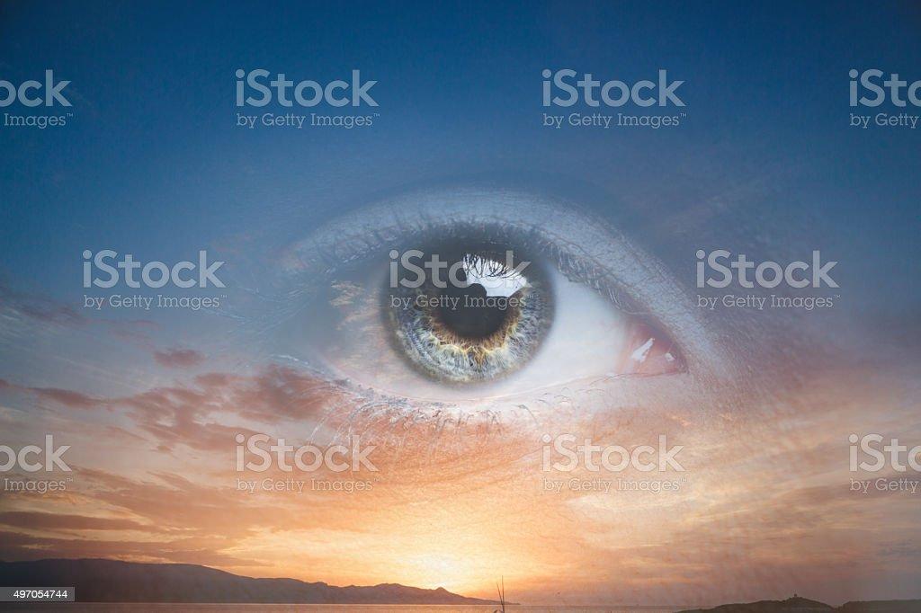 Nature and human eye stock photo