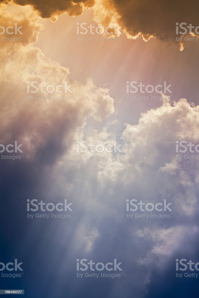 Nature background: Colorful setting sunrays royalty-free stock photo