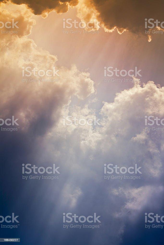 Nature background: Colorful setting sunrays stock photo
