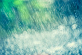 Nature Background - Rain And Bokeh Abstract Blue Green White