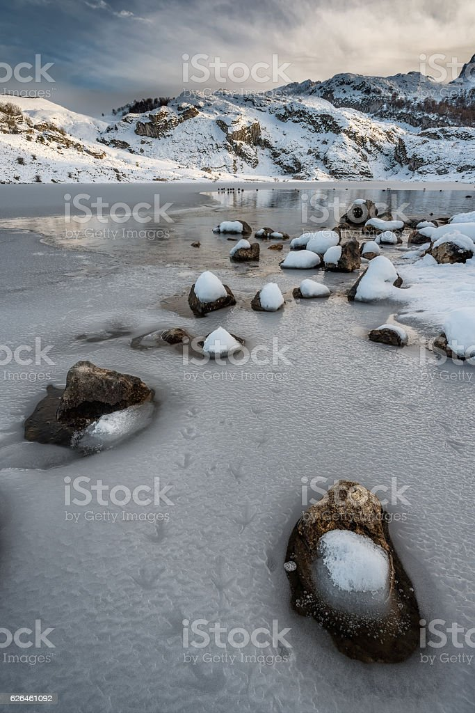 Nature beautiful landscape of snowy frozen Covadonga Lakes Ercina stock photo