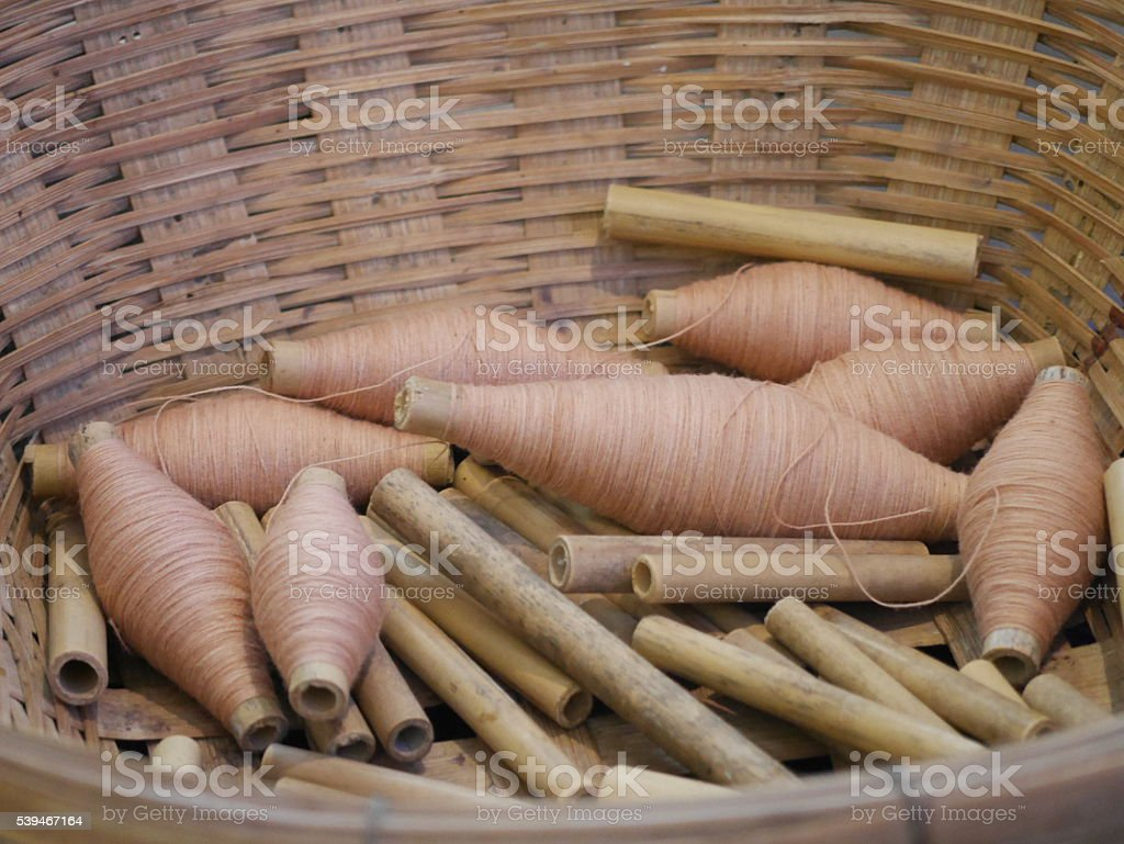 Nature cotton thread in the basket stock photo