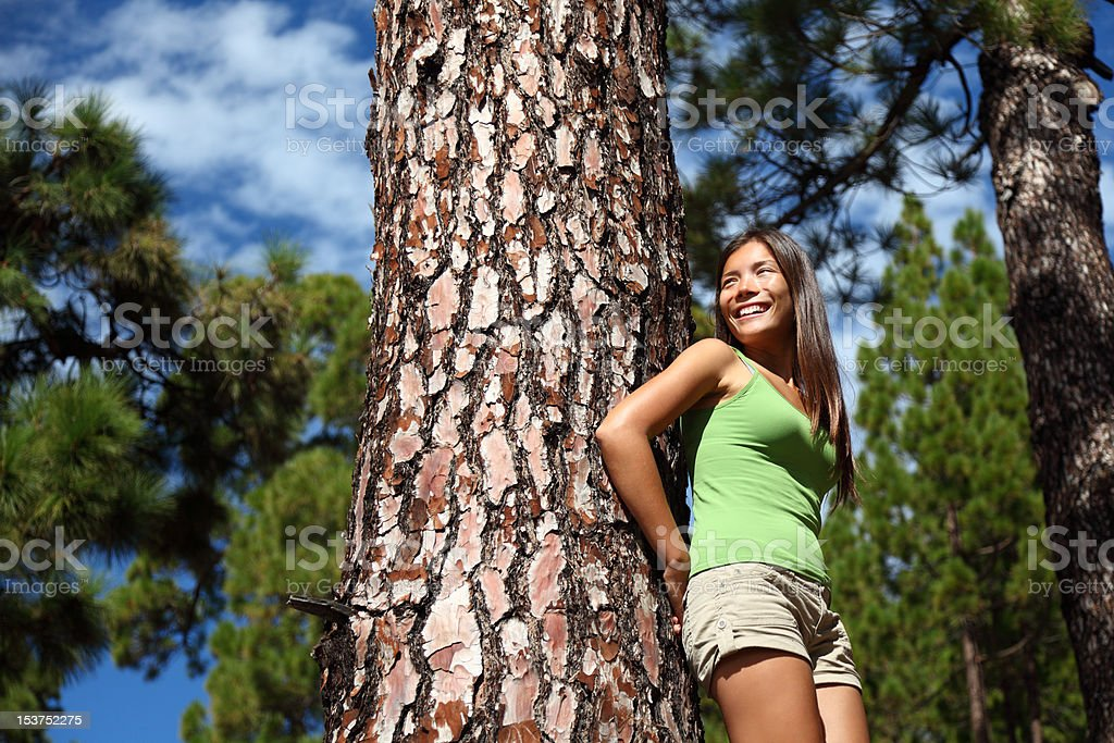 Nature forest woman smiling stock photo