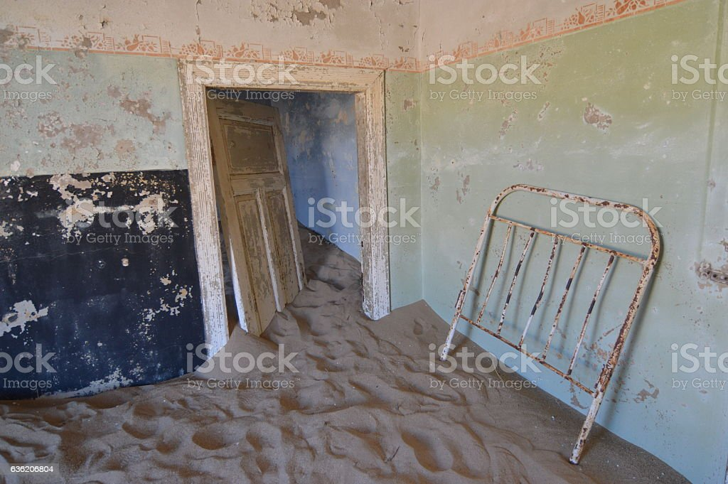 Nature gets Kolmanskop back stock photo