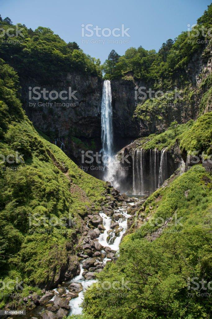Nature Kegon Falls in Nikko National Park in Japan. stock photo