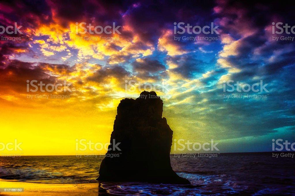 Nature Landscape-Beach and sea sunset stock photo