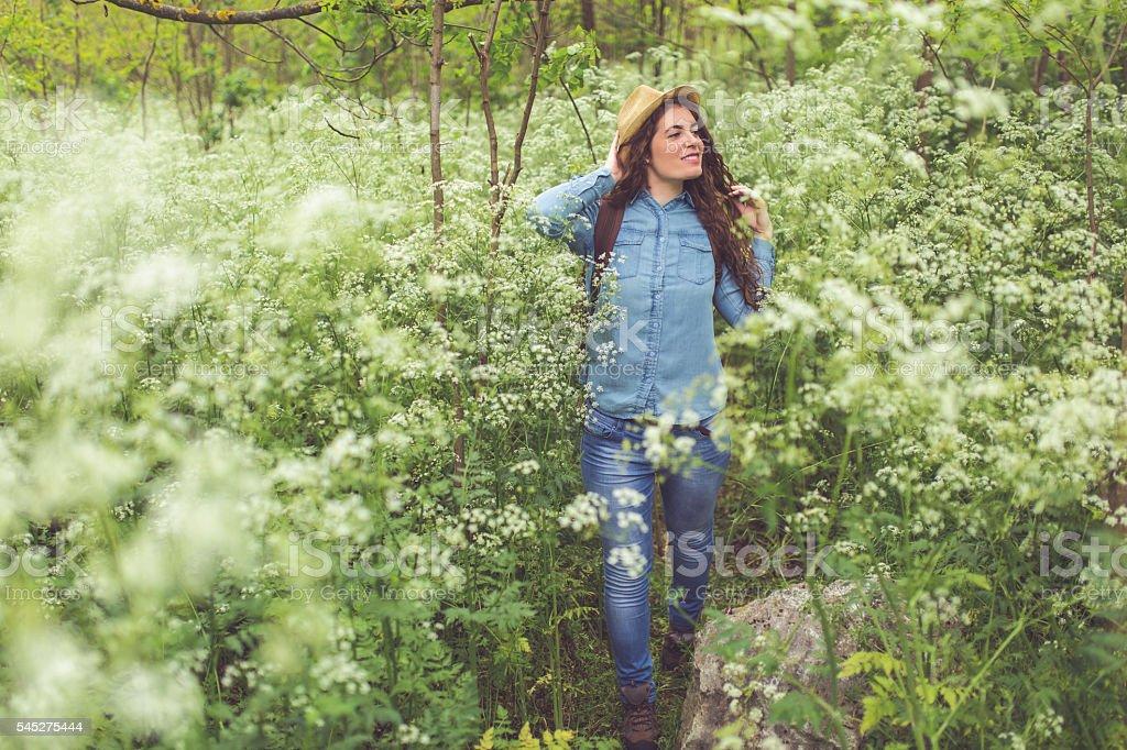 Nature makes me happy stock photo