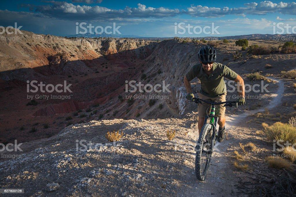 nature man adventure exercise landscape new mexico stock photo
