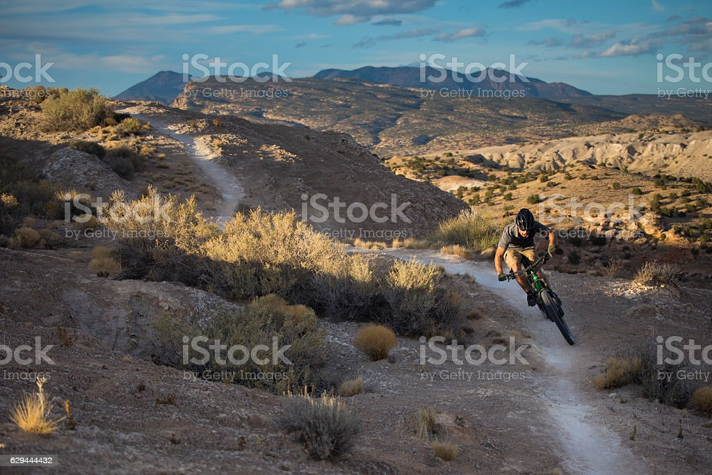 nature man adventure exercise landscape new mexico stock photo