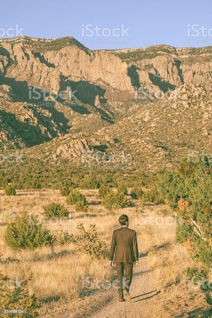 nature man business suit landscape stock photo