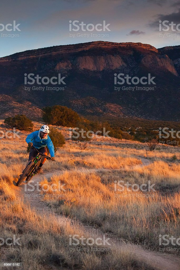 nature man mountain biking fitness stock photo