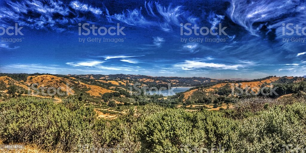 Nature: Mountains, valley and reservoir stock photo