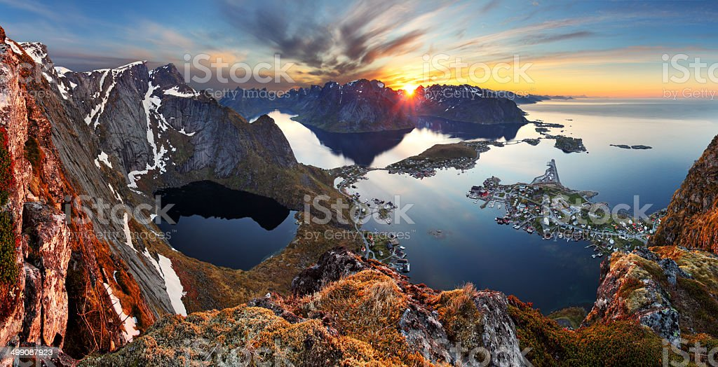 Nature panorama mountain landscape at sunset, Norway. stock photo