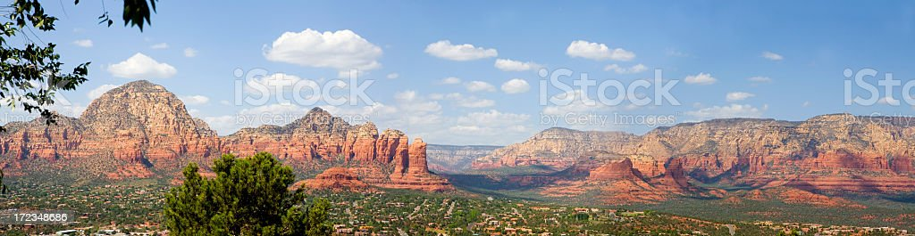 Nature photograph of sedona panorama with blue cloudy sky royalty-free stock photo