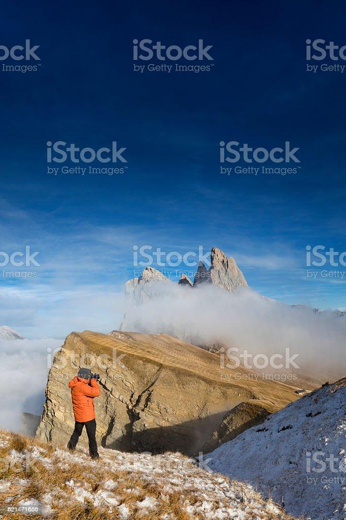 Nature photographer at Seceda, Geisler Group in Southtirol, Alps stock photo
