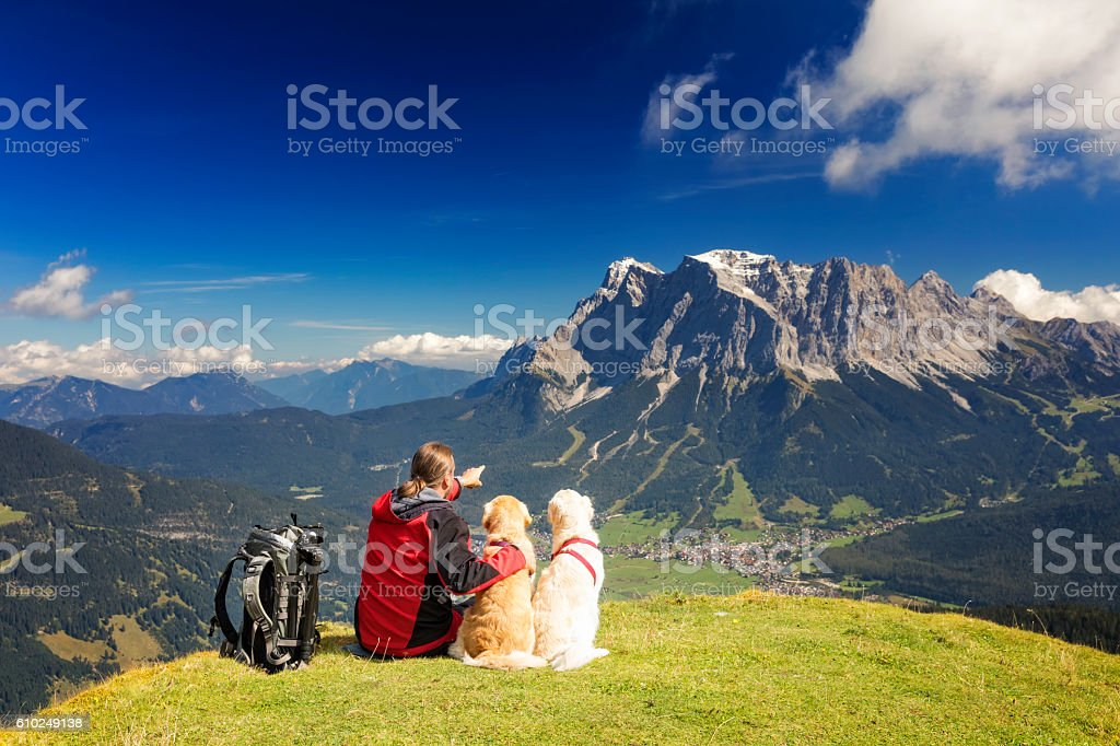 Nature photographer enjoy the view his dogs, Zugspitze, Alps stock photo