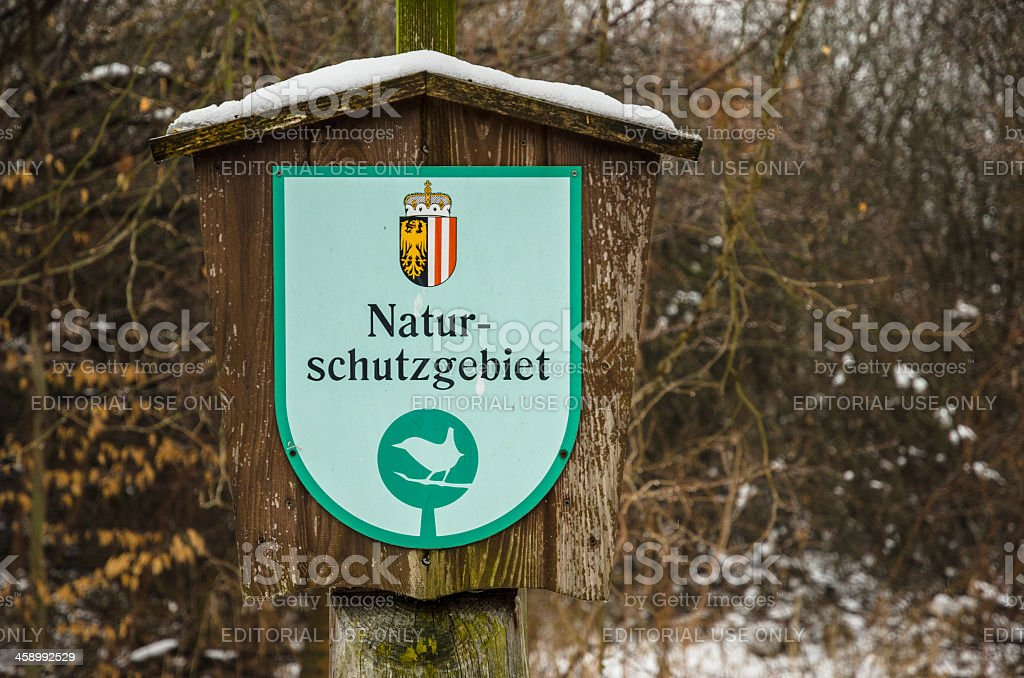 Nature protection area sign royalty-free stock photo