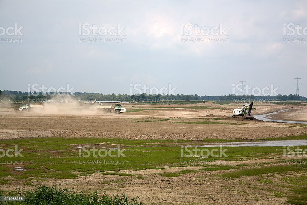 Nature restoration from arable land to wetland stock photo