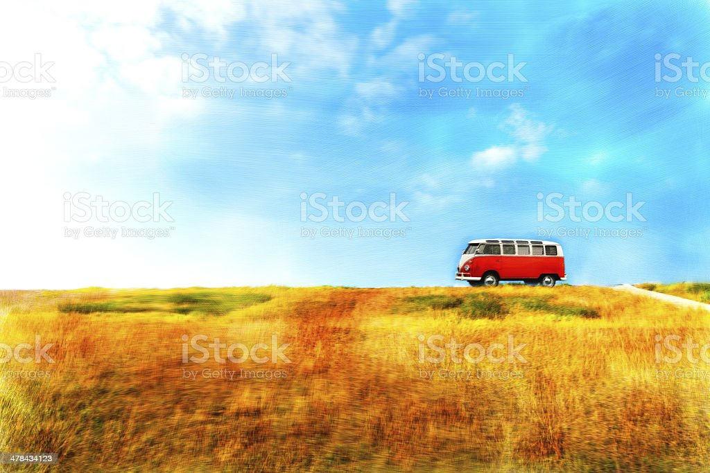 Nature scene and vintage car,watercolor painting stock photo