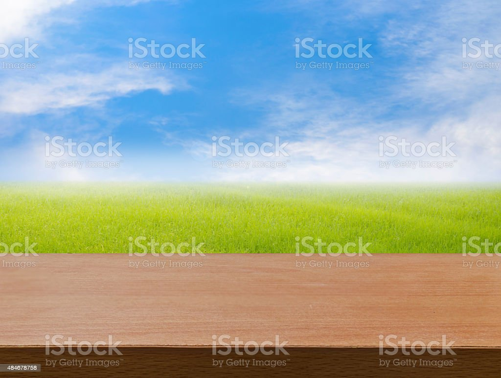 Nature spring with rice field background and perspective wooden floor stock photo