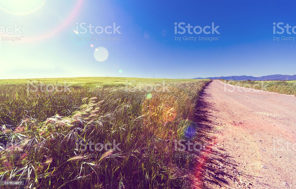 Nature sunset scenery and road stock photo
