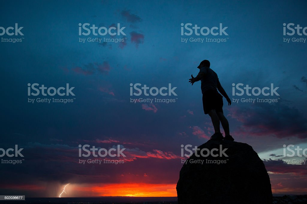 nature sunset silhouette man stock photo