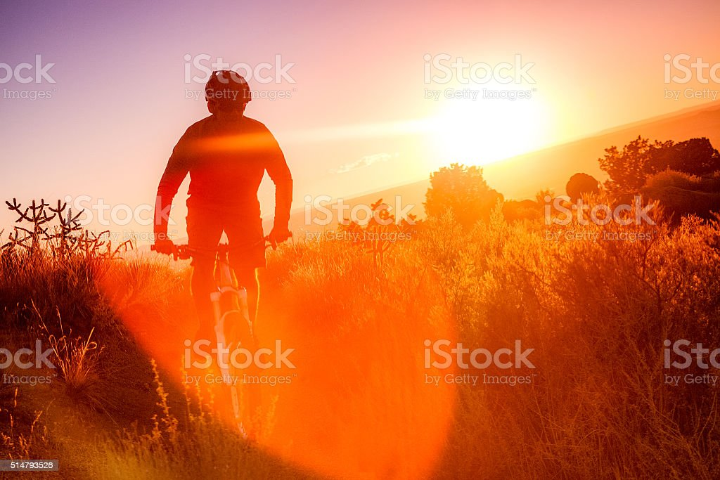 nature sunshine man fitness landscape stock photo
