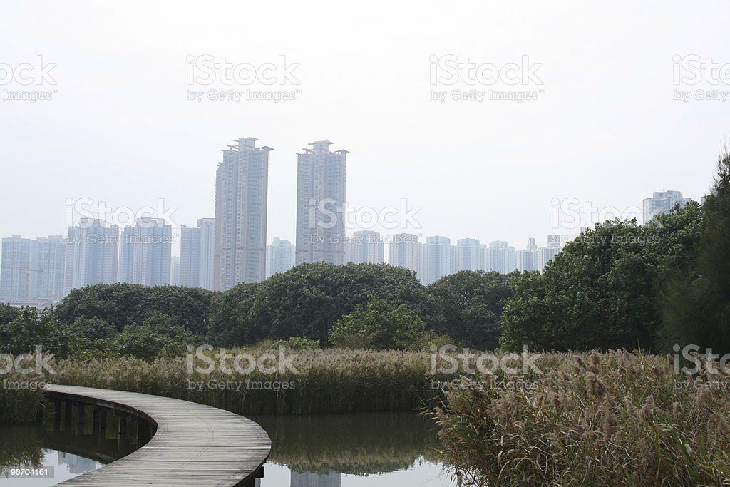Nature Vs City stock photo
