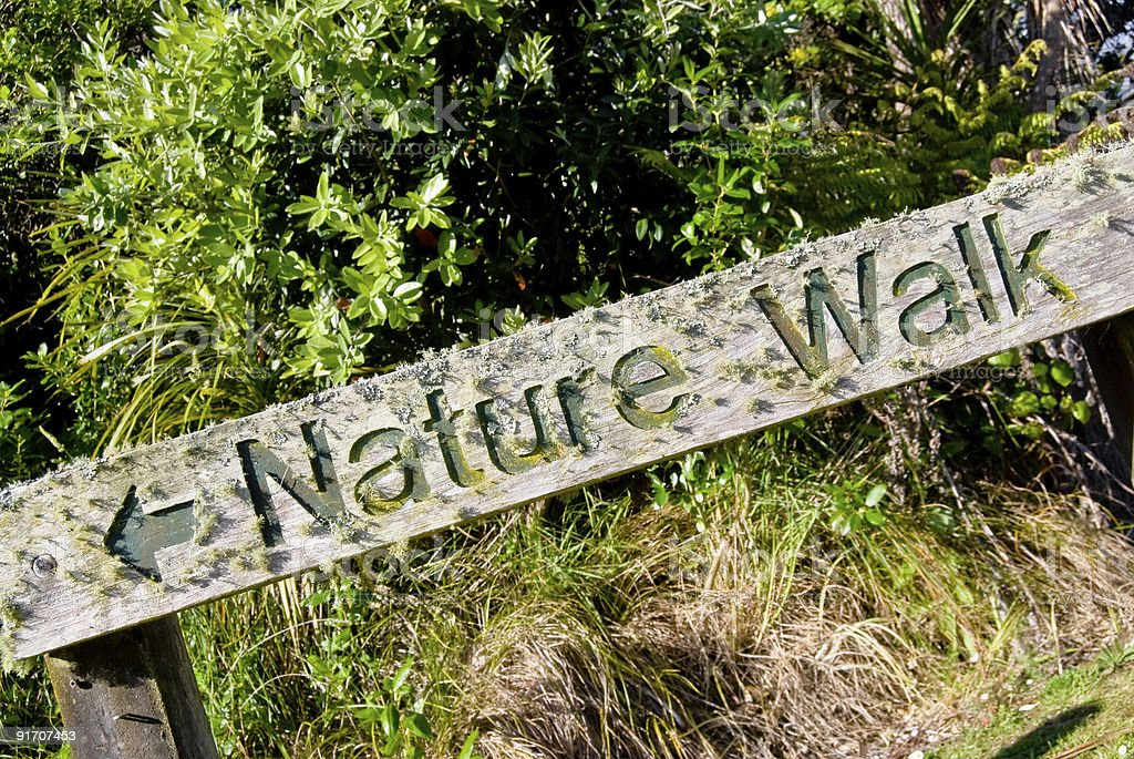 Nature walk: wooden textured sign royalty-free stock photo