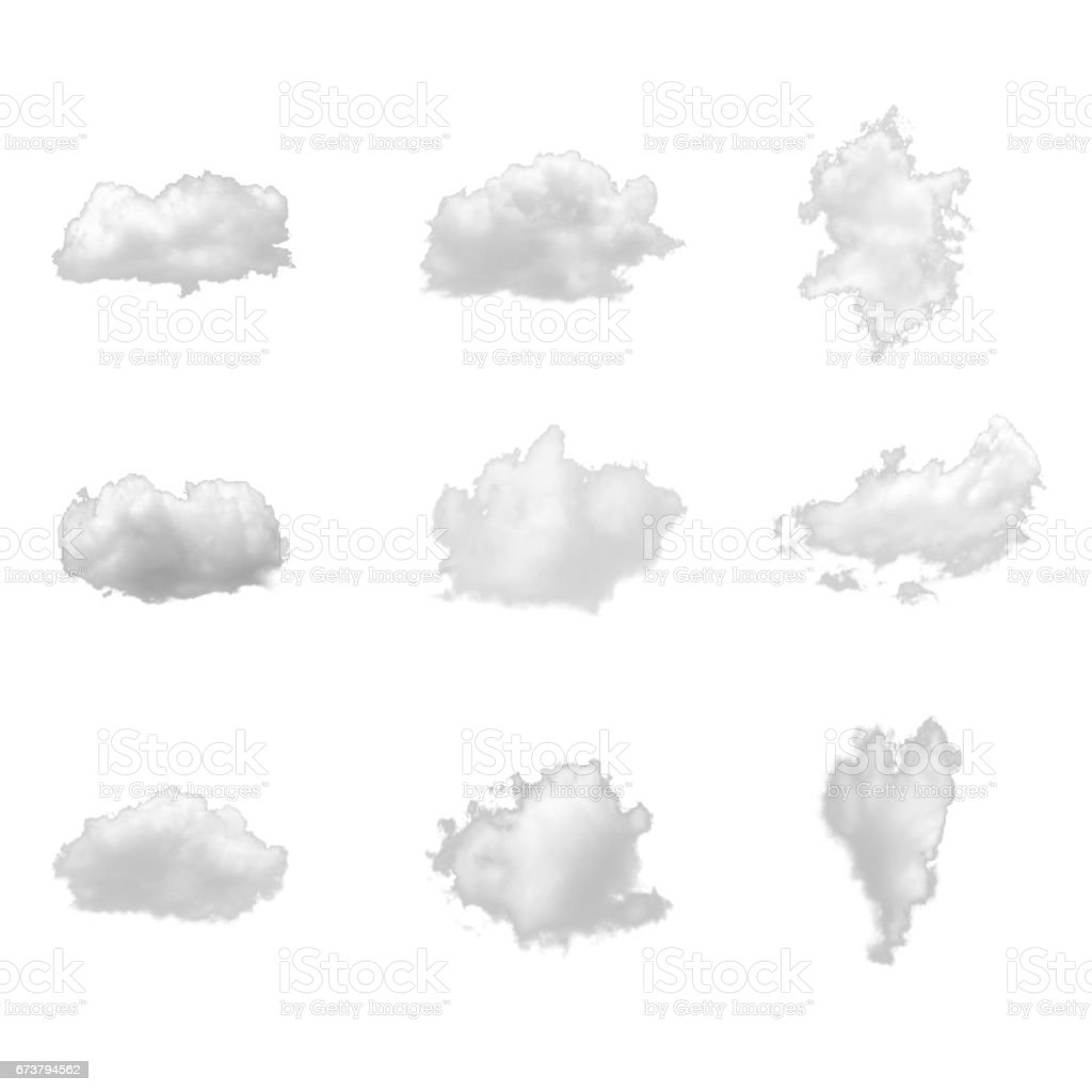 Nature white clouds collection isolate on white background stock photo