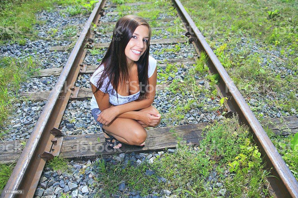 Nature Woman - Rail Track royalty-free stock photo